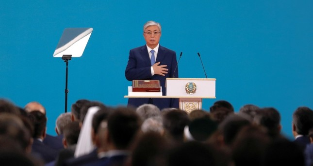 Kazakhstan's President Kassym-Jomart Tokayev takes the oath during his inauguration ceremony in Nur-Sultan, Kazakhstan June 12, 2019. (Reuters Photo)