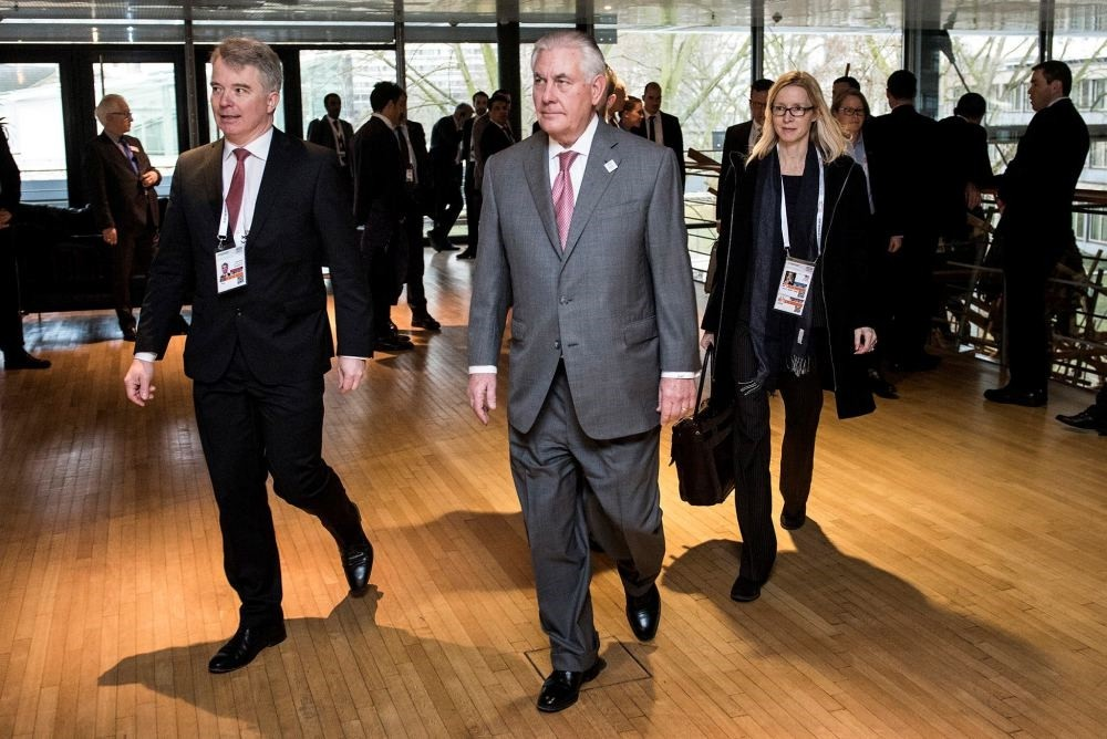 U.S. Secretary of State Rex Tillerson walks to a meeting on Syria at the World Conference Center in Bonn, western Germany, Feb.17.