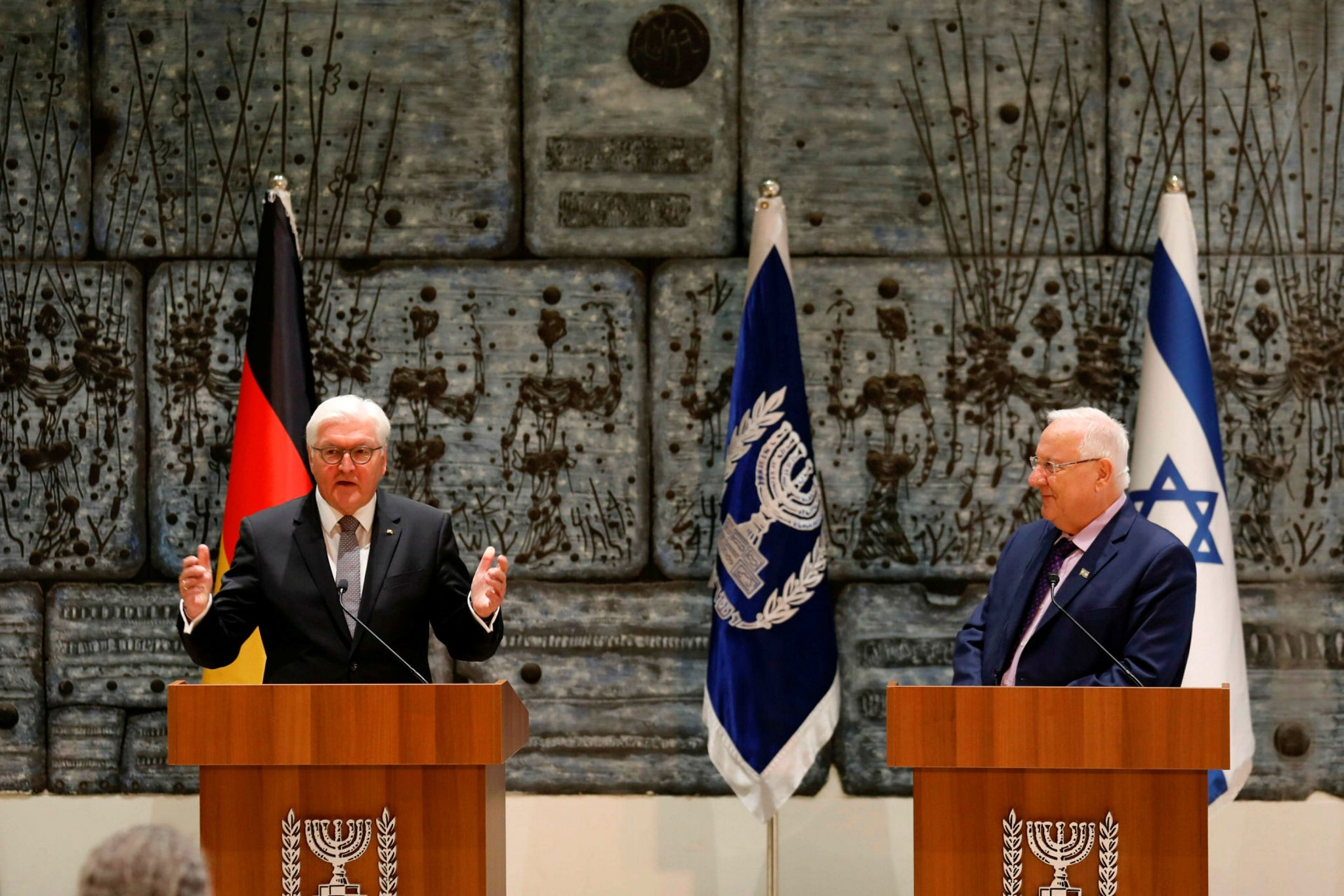 German President Frank-Walter Steinmeier speaks during a press conference with his Israeli counterpart Reuven Rivlin at the presidential compound in Jerusalem on May 7.