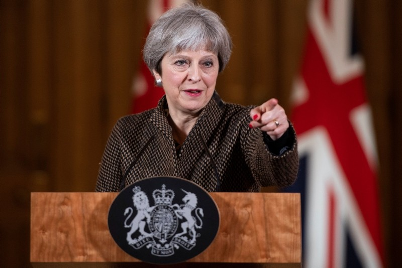 British Prime Minister Theresa May addresses the media during a press conference held in 10 Downing Street, central London, Britain, 14 April 2018. (EPA Photo)