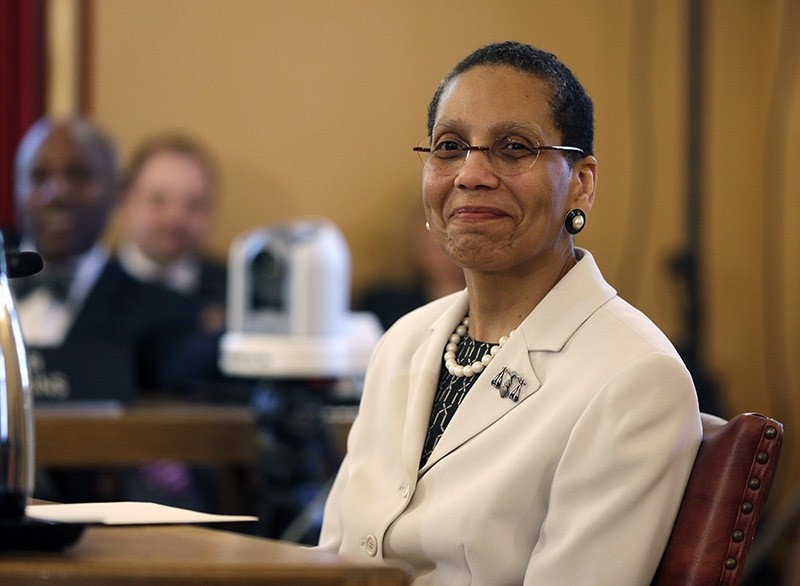 In this April 30, 2013 file photo, Justice Sheila Abdus-Salaam looks on as members of the state Senate Judiciary Committee vote unanimously to advance her nomination to fill a vacancy on the Court of Appeals at the Capitol in Albany, N.Y. (AP Photo)