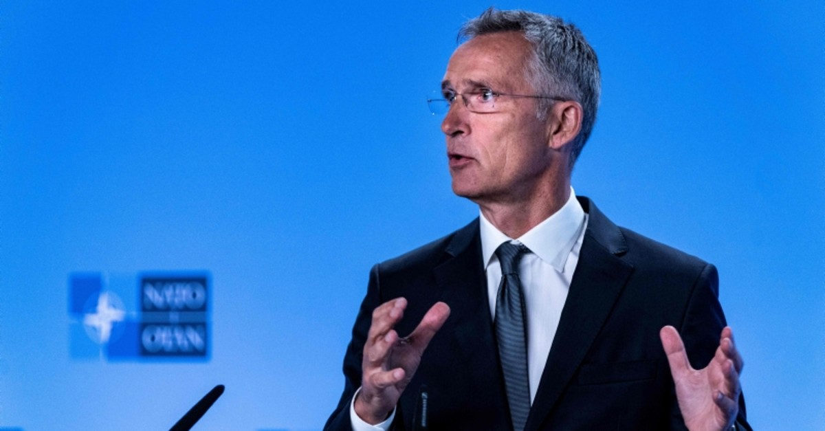 NATO Secretary General Jens Stoltenberg gestures as he delivers a speech during a press conference about the end of the Intermediate-Range Nuclear Forces (INF) treaty at the North Atlantic Treaty Organization (NATO) HQ, in Brussels (AFP Photo)