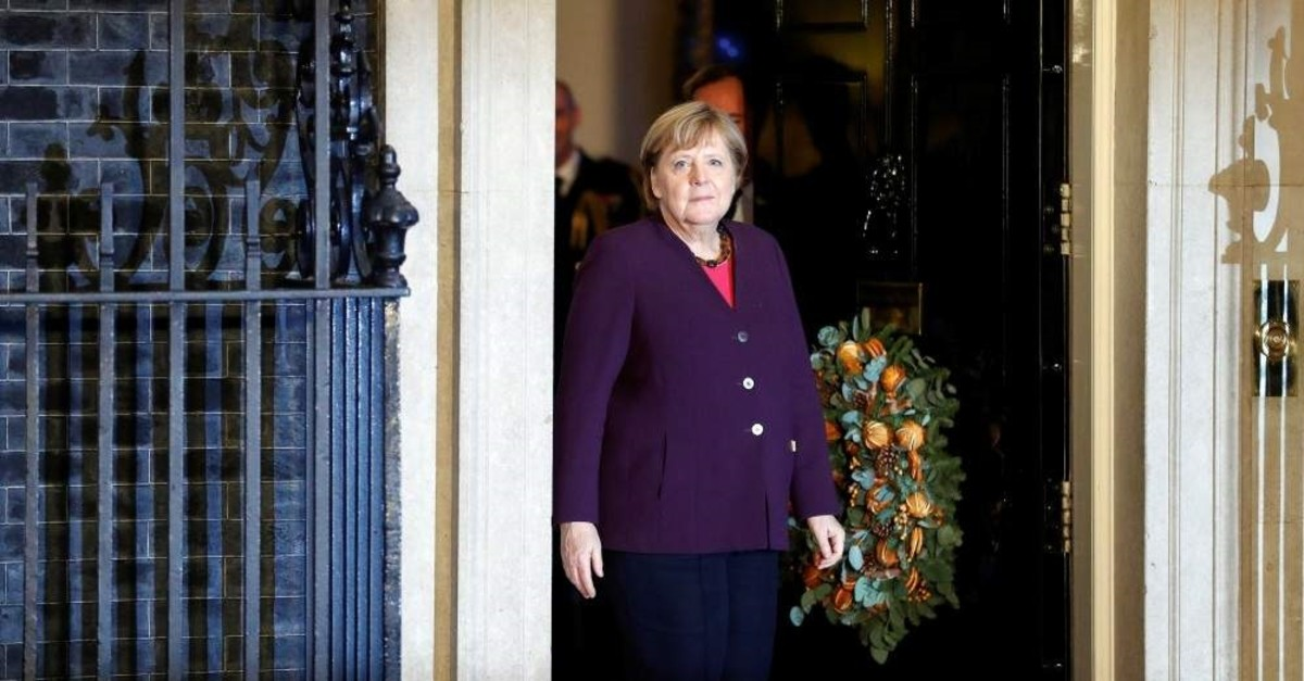 German Chancellor Angela Merkel arrives for a reception at 10 Downing Street, ahead of the NATO summit in Watford, London, Dec. 3, 2019. (REUTERS Photo)