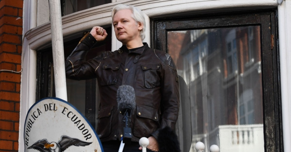 In this file photo taken on May 19, 2017 WikiLeaks founder Julian Assange speaks on the balcony of the Embassy of Ecuador in London. (AFP Photo)