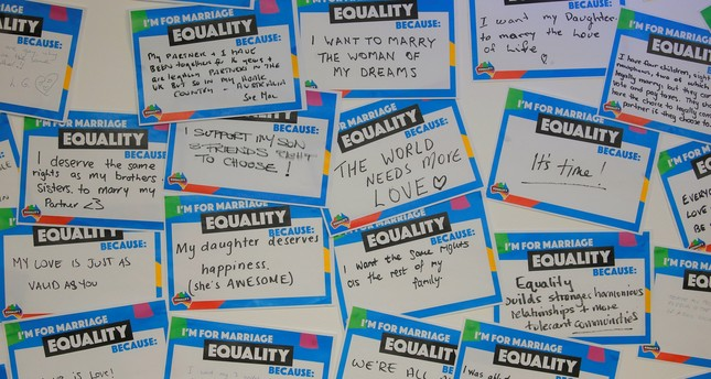 Hand-written messages expressing support for same-sex marriage in Australia line a wall at a call centre for the Yes campaign in Australia's gay marriage vote in Sydney, Australia, September 6, 2017. (Reuters Photo)