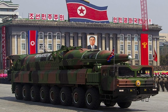 A North Korean vehicle carrying a missile passes by during a mass military parade in Pyongyang's Kim Il Sung Square to celebrate the centenary of the birth of the late North Korean founder Kim Il Sung. (AP File Photo)