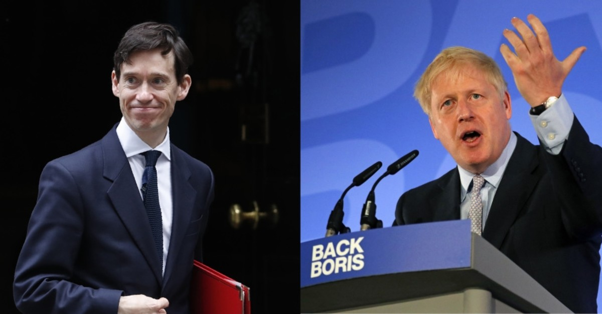 UK's Secretary of State for International Development, Rory Stewart, leaving 10 Downing Street in London, June 11, 2019, (L) and Conservative Party lawmaker Boris Johnson speaking during the official launch of his campaign, London, June 12, 2019.