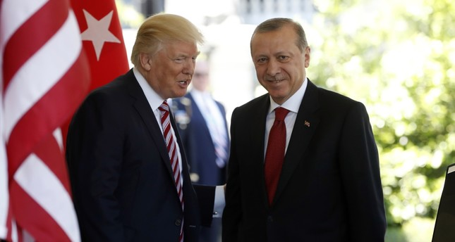 President Donald Trump welcomes President Recep Tayyip Erdogan to the White House in Washington on May 16, 2017.