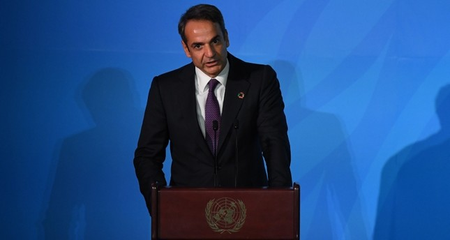 Greece Prime Minister Kyriakos Mitsotakis speaks during the Climate Action Summit 2019 in the United Nations General Assembly Hall September 23, 2019 AFP Photo