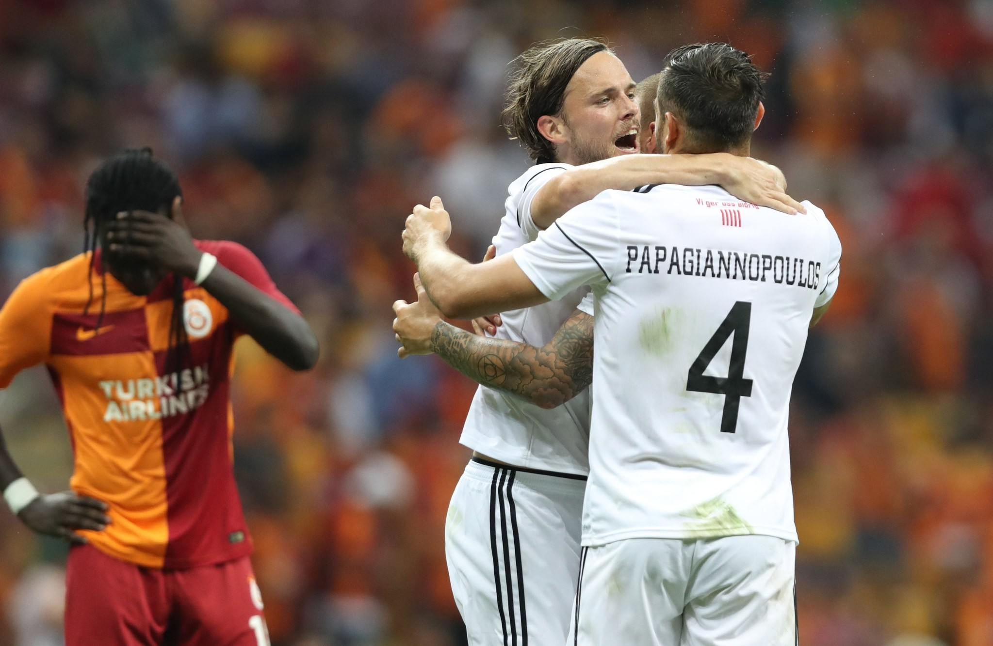 Ostersund players celebrate after the UEFA Europa League second qualifying round second leg match between Galatasaray vs Ostersund in Istanbul, Turkey 20 July 2017. (EPA Photo)
