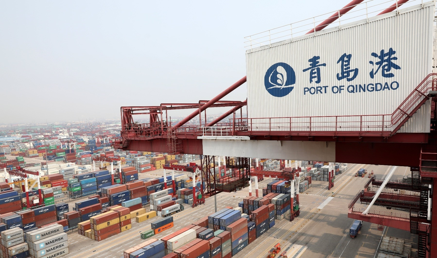 A general view of containers at the Port of Qingdao in Qingdao, Chinau2019s Shandong province, April 30, 2018.