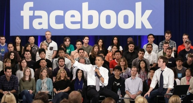 Barack Obama and Facebook CEO Mark Zuckerberg take part in a town hall meeting at Facebook headquarters in Palo Alto, Calif., April 20, 2011. (AP Photo)