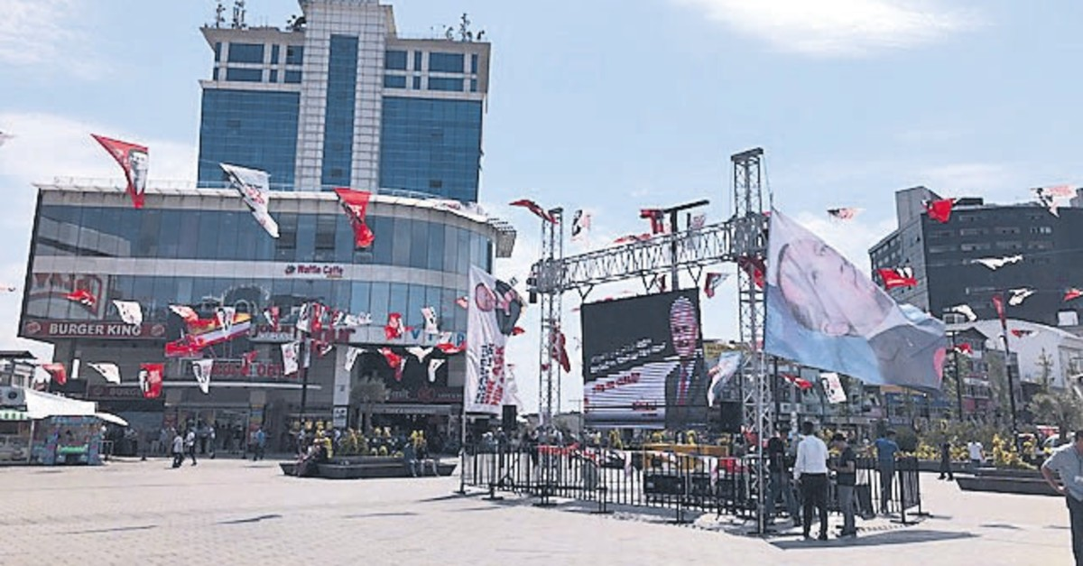 The election campaign flags of People's Alliance candidate Binali Yu0131ldu0131ru0131m at Esenyurt square, June 18, 2019.