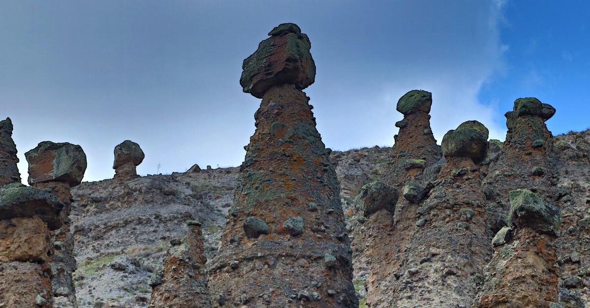 Fairy chimneys of u00c7anku0131ru0131, a hidden touristic gem in central Anatolia.