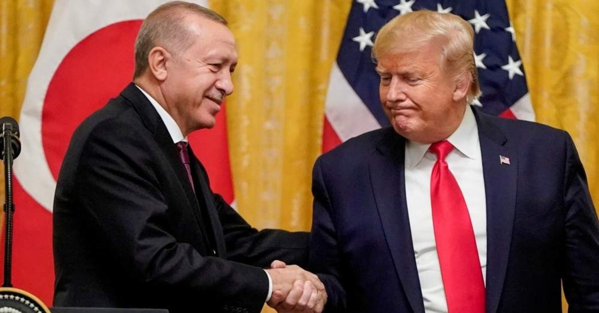 President Recep Tayyip Erdo?an shakes hand with the U.S. President Donald Trump during a joint news conference at the White House in Washington D.C., Nov. 13, 2019. (REUTERS Photo)