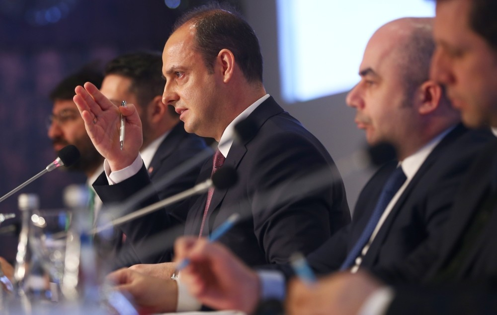 CBRT Governor Murat u00c7etinkaya delivered a presentation at the meeting for the first inflation report of the year.