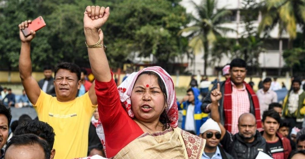 Demonstrators shout slogans during a protest against the government's Citizenship Amendment Bill (CAB) in Guwahati, India, Dec. 13, 2019. (AFP Photo)