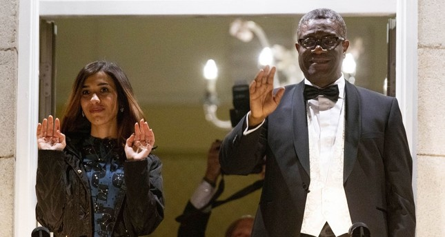2018 Nobel Peace Prize laureates Dr. Denis Mukwege from Congo, left, and Nadia Murad from Iraq.
