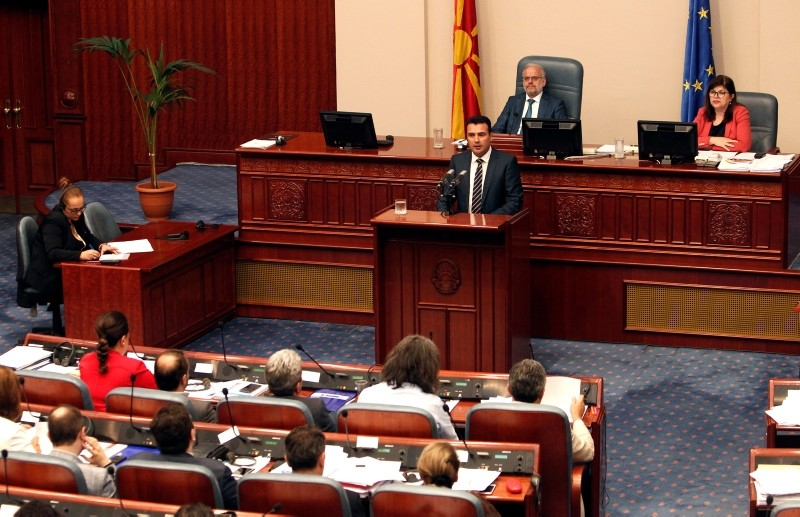 Macedonian Prime Minister Zoran Zeav speaks during a session for the ratification of the deal with Greece, in the parliament in Skopje, Macedonia, Wednesday, June 20, 2018. (AP Photo)