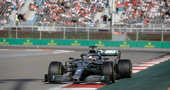 Mercedes driver Lewis Hamilton of Britain steers his racer during the Russian Formula one Grand Prix, at the 'Sochi Autodrom' Formula One circuit, in Sochi, Russia, Sunday, Sept. 29, 2019. AP Photo