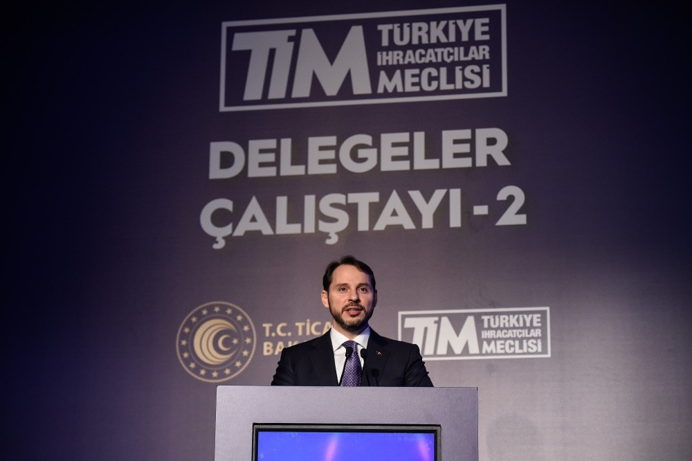 Treasury and Finance Minister Berat Albayrak speaks at the Delegation Workshop of Turkish Exporters' Assembly (Tu0130M) in Istanbul, Feb. 7, 2019.