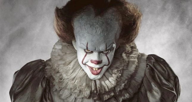 Bill Skarsgard in the role of Pennywise, the dancing clown.