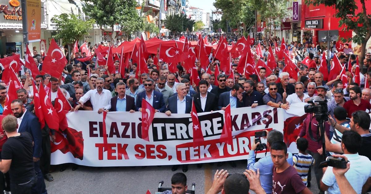 Kurdish people demonstrate against the PKK terrorist organization in the eastern town of Elazu0131u011f, Sept. 14, 2019.