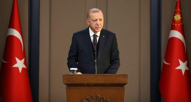 President Erdoğan speaks to reporters at Esenboğa Airport in Ankara on Tuesday, Dec. 3, 2019 (AA Photo)