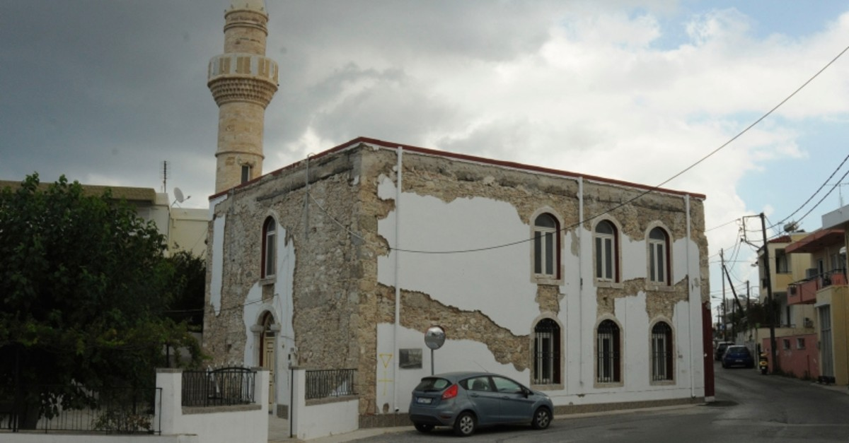 This file photo dated July 18, 2019 shows Algerian Gazi Hasan Pasha (Lonca) Mosque in a damaged state, in Platani, Kos, Greece. (Photo: Sabah)