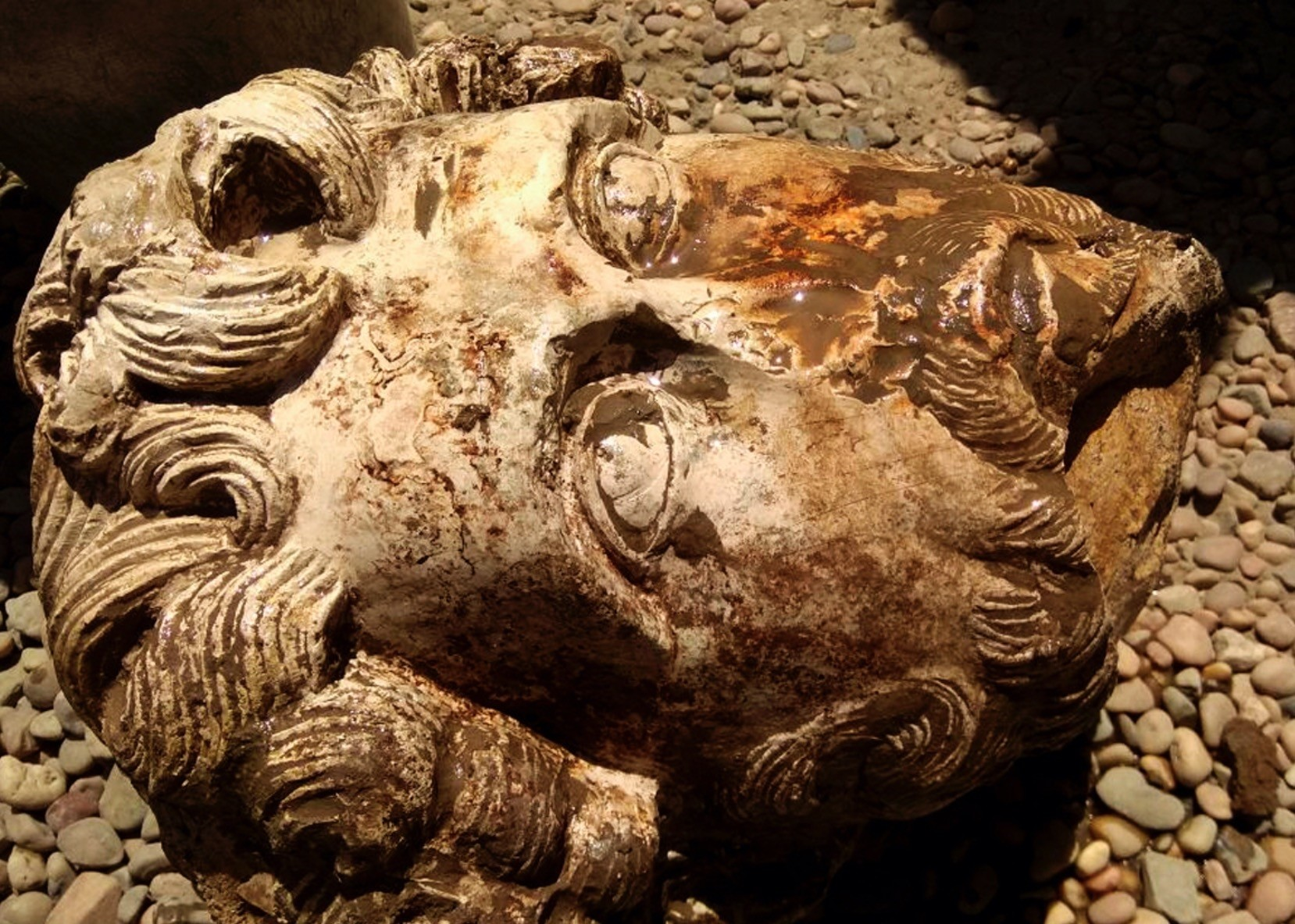 A stone head of Roman Emperor Marcus Aurelius found in the Temple of Kom Ombo, in Aswan.