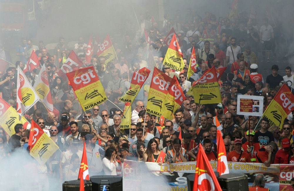 Rail workers and civil servants demonstrate, Marseille, France, April 19.