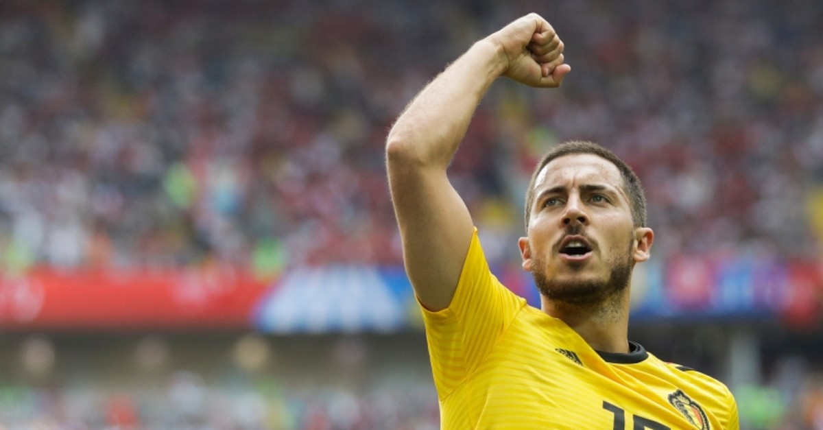 Belgium's Eden Hazard celebrates after scoring his side's fourth goal during the group G match between Belgium and Tunisia at the 2018 soccer World Cup in the Spartak Stadium in Moscow, Russia, Saturday, June 23, 2018. (AP Photo)