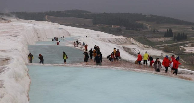 Pamukkale welcomed some 2.58 million visitors throughout 2019. AA Photo