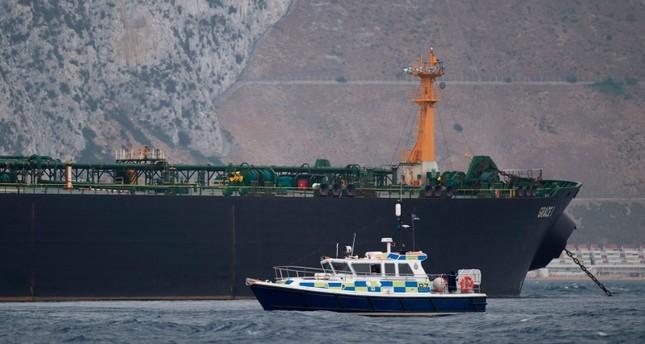 A British Police ship patrols near supertanker Grace 1 off the coast of Gibraltar on July 6, 2019. (AFP Photo)