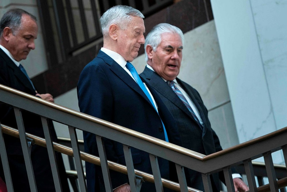 US Secretary of Defense Jim Mattis (C) and US Secretary of State Rex Tillerson (R) arriving for a closed meeting of the Senate Foreign Relations Committee on Capitol Hill in Washington, DC. (AFP Photo)