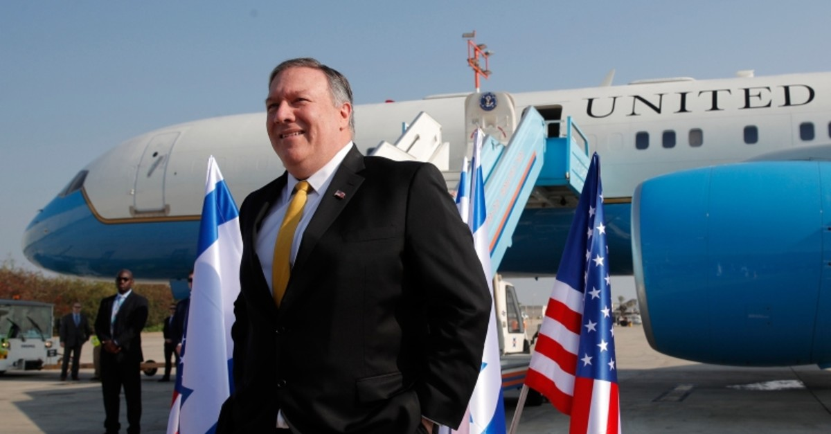 U.S. Secretary of State Mike Pompeo stands next to his airplane before boarding it to Beirut at Ben Gurion airport near Lod, Israel, Friday, March 22, 2019. (AP Photo)