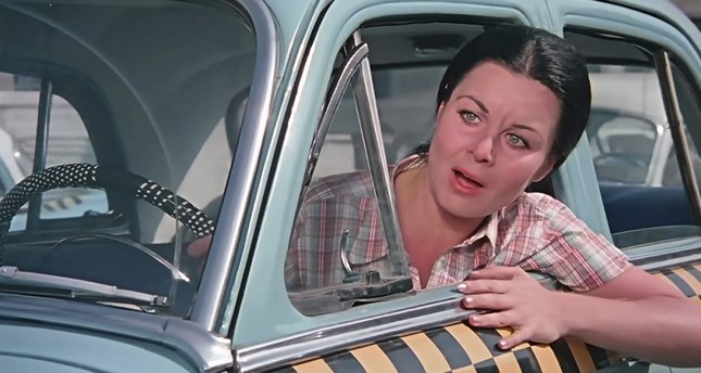 "Fatma Girik in the leading role in the 1970 film ""Şoför Nebahat"" ""Nebahat the Driver""."