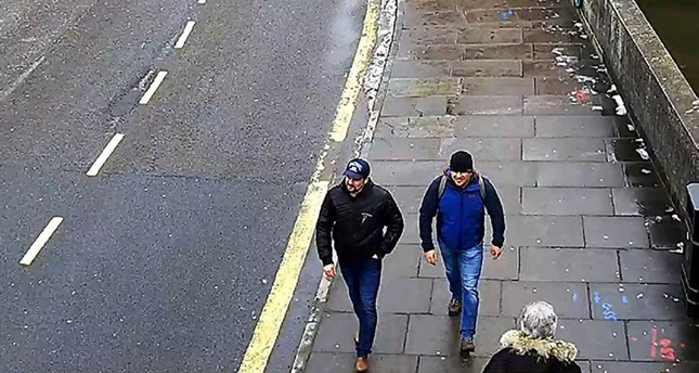 A British Metropolitan Police Service picture shows the two Russians suspected of delivering the nerve agent to Salisbury, the pair since identified as GRU agents Alexander Mishkin and Anatoly Chepiga. (AFP Photo)