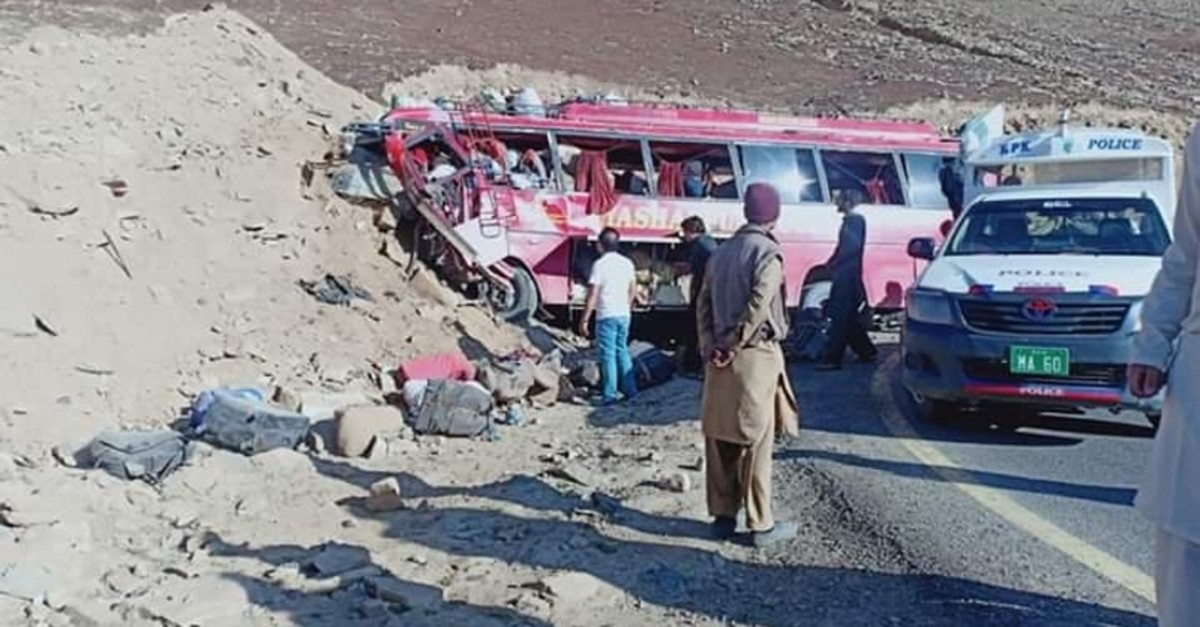 Screengrab from video shows the scene of the accident where 26 died, Sept. 22, near Chilas, Pakistan. (IHA Photo)