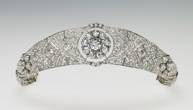 Handout picture issued by the Royal Household of Queen Mary's Diamond Bandeau, which is being worn by Meghan Markle for her wedding to Prince Harry, in Windsor, Britain, May 19, 2018.
