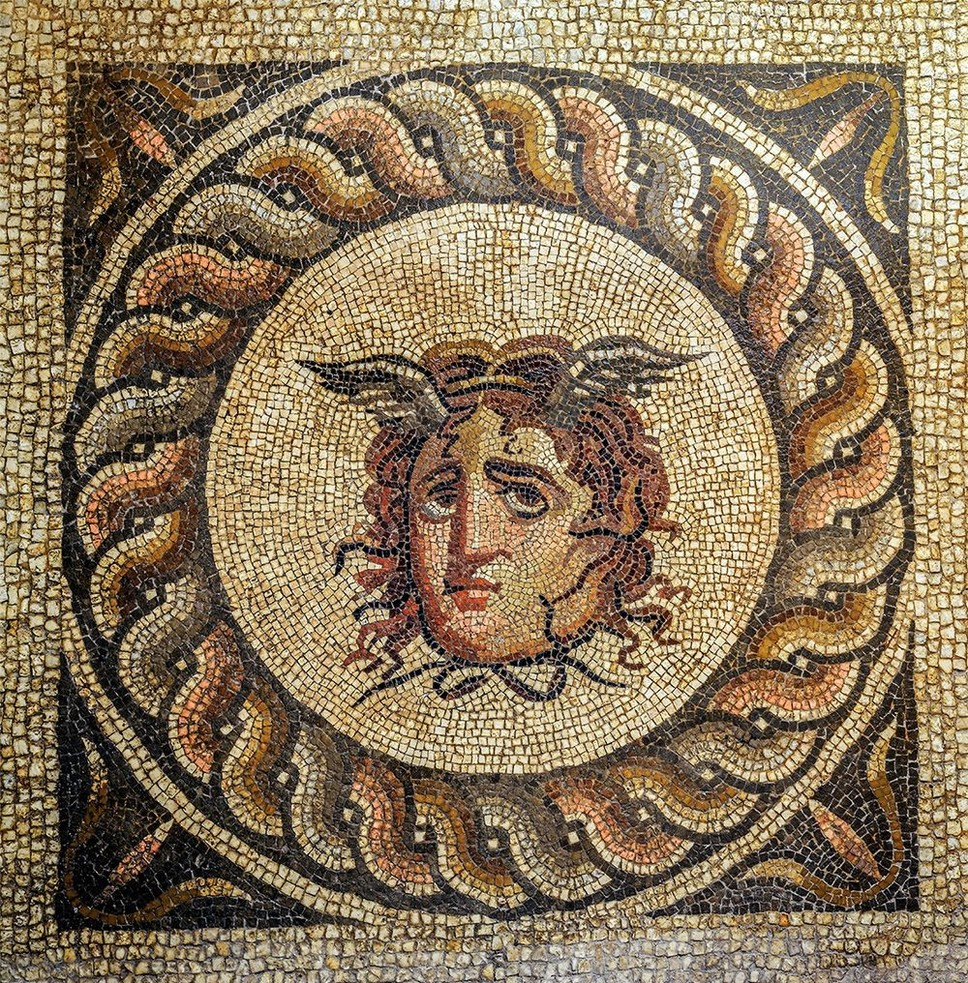 This mosaic portrays Medusa from the Greek mythology.