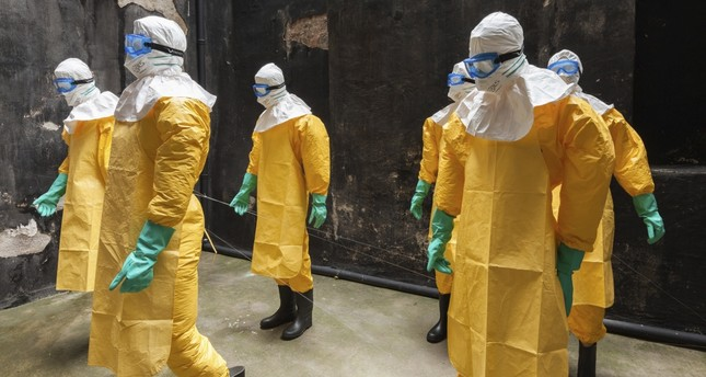 "The installation titled ""Ebola"" is displayed at the Greek Primary School in Galata."