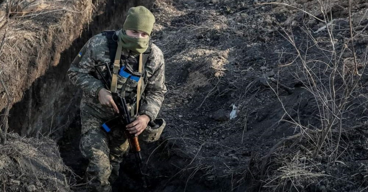 A serviceman is seen in a trench at a position on the front line near the village of Zolote in the eastern Ukrainian region of Luhansk, Nov. 2, 2019. (REUTERS)