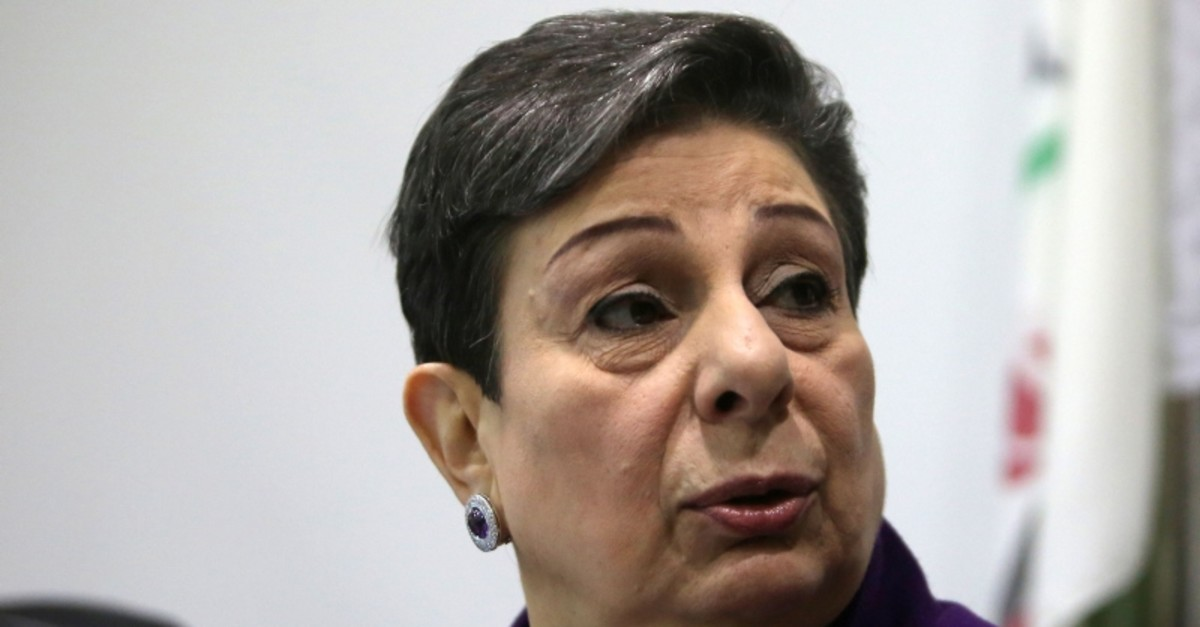 In this file photo taken on February 24, 2015 Palestine Liberation Organisation (PLO) executive committee member Hanan Ashrawi speaks during a press conference in Ramallah. (AFP Photo)