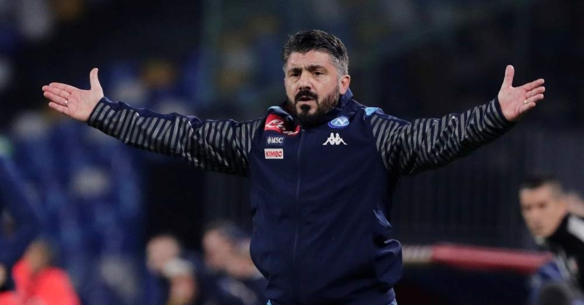 Gattuso reacts during the match against Parma, Naples, Dec. 14, 2019. (Reuters Photo)