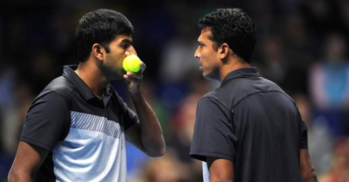 India's Bhupathi and Bopanna during their doubles match in London. (Reuters Photo)