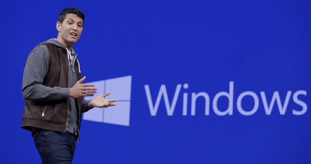 Terry Myerson, executive vice president of the Windows and Devices Group, speaks at the Microsoft Build 2017 developers conference in Seattle. (AP Photo)