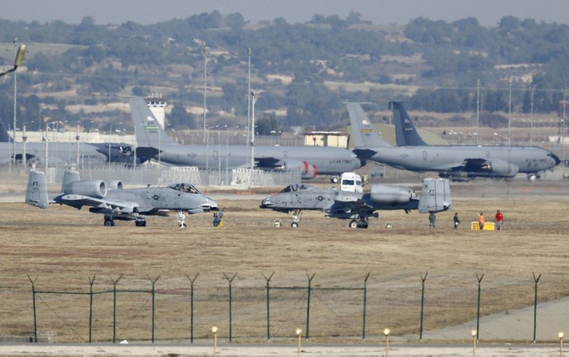 U.S. Air Force A-10 Thunderbolt II fighter jets are pictured at Incirlik airbase in Adana, Turkey. (Reuters Photo)