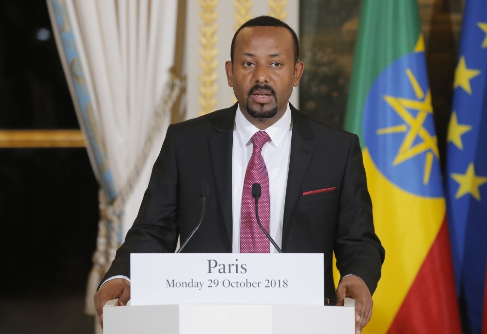 Ethiopian Prime Minister Abiy Ahmed speaks during a media conference at the Elysee Palace in Paris, Sept. 29.