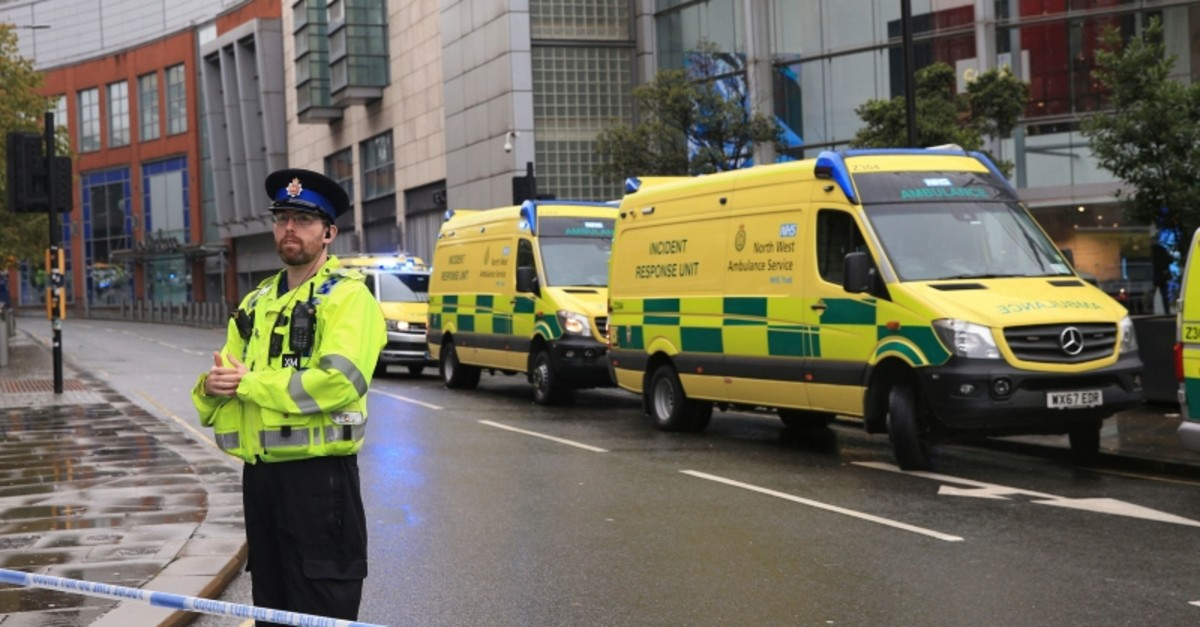 Police outside the Arndale Centre in Manchester, England, Friday October 11, 2019, after a stabbing incident at the shopping center that left 5 people injured. (AP Photo)